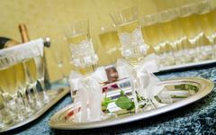 Glasses of champagne for a wedding reception Stock Photos