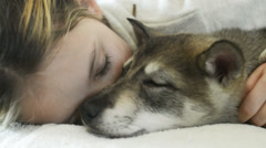 Sleeping little girl tenderly embraces a dog, close up - stock footage