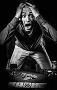 Gambler, black and white photo Stock Photos