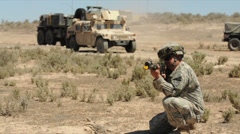 US - Army - Convoy Training 08 - Convoy Stock Footage