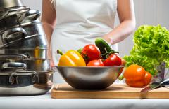 raw vegetables and kitchen utensil close-up - stock photo