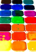 watercolor paintbox close-up - stock photo