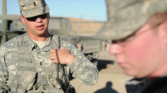 US - Army - Convoy Training 09 - Admission Soldiers Stock Footage
