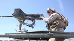 US - Army - Truck 01 - Cal. 50 Gunner Stock Footage