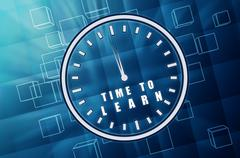 Time to learn in clock symbol in blue glass cubes Stock Illustration