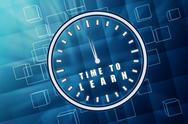 Stock Illustration of time to learn in clock symbol in blue glass cubes