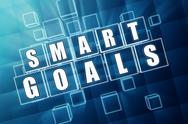 Stock Illustration of smart goals in blue glass cubes