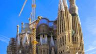 Stock Video Footage of Timelapse Sagrada Familia Barcelona with jet stream clouds