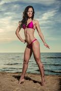 sexy brunette in bikini posing on the beach - stock photo