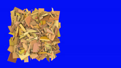 Stock Video Footage of 3d abstract orange spiked shape on blue