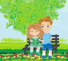 Boy and girl reading book Stock Illustration