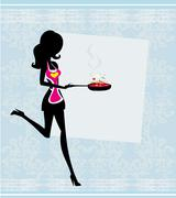 Silhouette of a woman wearing an apron and holding a skillet - vector card Stock Illustration