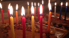 Chanukah candles on a table Stock Footage