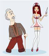 Vector illustration of a sexy nurse and senior man Stock Illustration