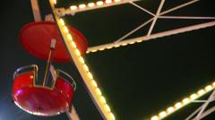 Gondolas On A Running Ferris Wheel Stock Footage