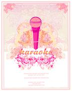 banner with microphone - karaoke party design - stock illustration