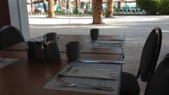 Resort hotel dining room table Stock Footage