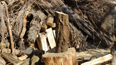 woodcutter splitting firewood logs in slowmotion - stock footage