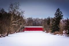 sach's covered bridge during the winter, near gettysburg, pennsylvania. - stock photo