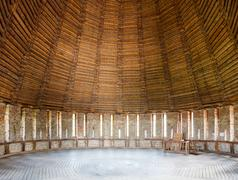 Wooden dome of the defensive towers from inside Stock Photos