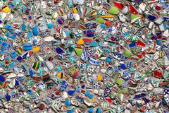 wall fragments of Turkish ceramics, background - stock photo