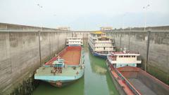 Timelapse video of ships rising in the ship lock in Three Gorges Dam Stock Footage