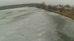 Frozen lake. Aerial winter  landscape Stock Footage