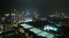 HD video of Victoria Park and Causeway Bay on Hong Kong Island at night Stock Footage