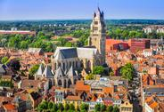 Stock Photo of aerial view of saint salvator cathedral, old town of bruges