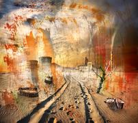 Environmental pollution texture Stock Illustration