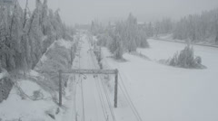 AERIAL: Fallen tree on a frozen railroad - stock footage