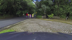 Couples walking rainforest road Puerto Rico HD 0238 Stock Footage