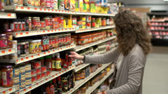 Examining food labels (3 of 9) - stock footage
