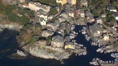 Aerial corsica village centuri cap Stock Footage