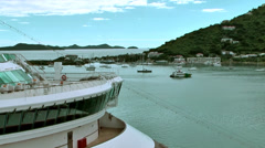 British Virgin Islands Tortola Road Town 054 bridge of a cruise ship - stock footage