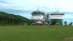 British Virgin Islands Tortola Road Town 038 two cruise ships - stock footage