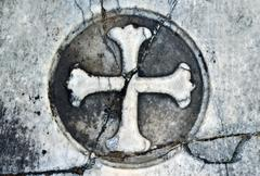 Marble headstone gothic cross background Stock Photos
