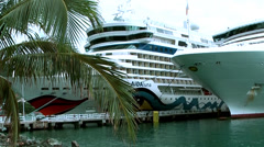 British Virgin Islands Tortola Road Town 002 cruise ships in the harbor Stock Footage