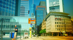 High-rise bank buildings on  in Frankfurt am Main, Germany. Stock Footage