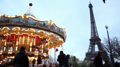 Paris: Eiffel Tower with Traditional Merry Go Round Stock Footage