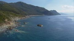 Aerial corsica nonza beach village Stock Footage