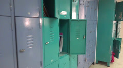 High school lockers Stock Footage