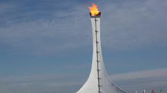 Wide shot of the Olympic Flame, Sochi Winter Olympics, 2014 Stock Footage