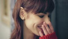 portrait of beautiful young woman smiling at the camera - laugh - stock footage