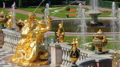 famous petergof Samson fountain in St. Petersburg Russia - stock footage