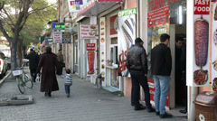 Trading quiet street in Baku-day Stock Footage