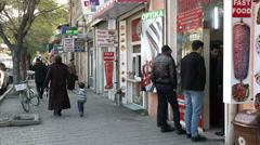 Trading quiet street in Baku-day - stock footage
