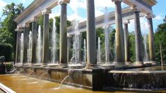 Lion cascade fountain in petergof park St. Petersburg Russia Stock Footage