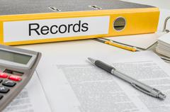 Stock Photo of folder with the label records