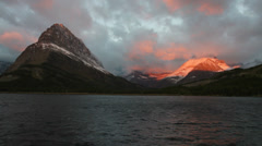 Swift Lake at sunrise Glacier Park Stock Footage